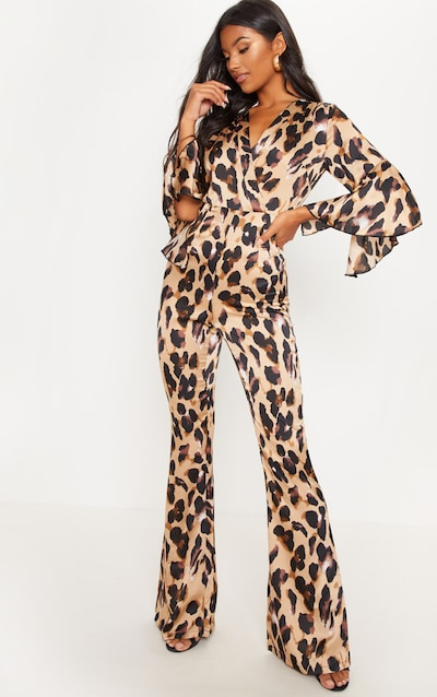 9852433c6aa Tan Leopard Print Flared Sleeve Jumpsuit