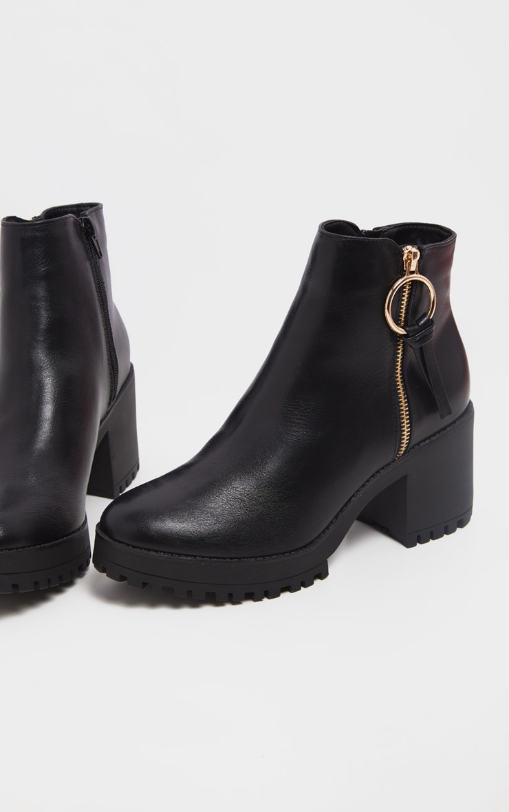 Black Side Zip Chunky Boot 4