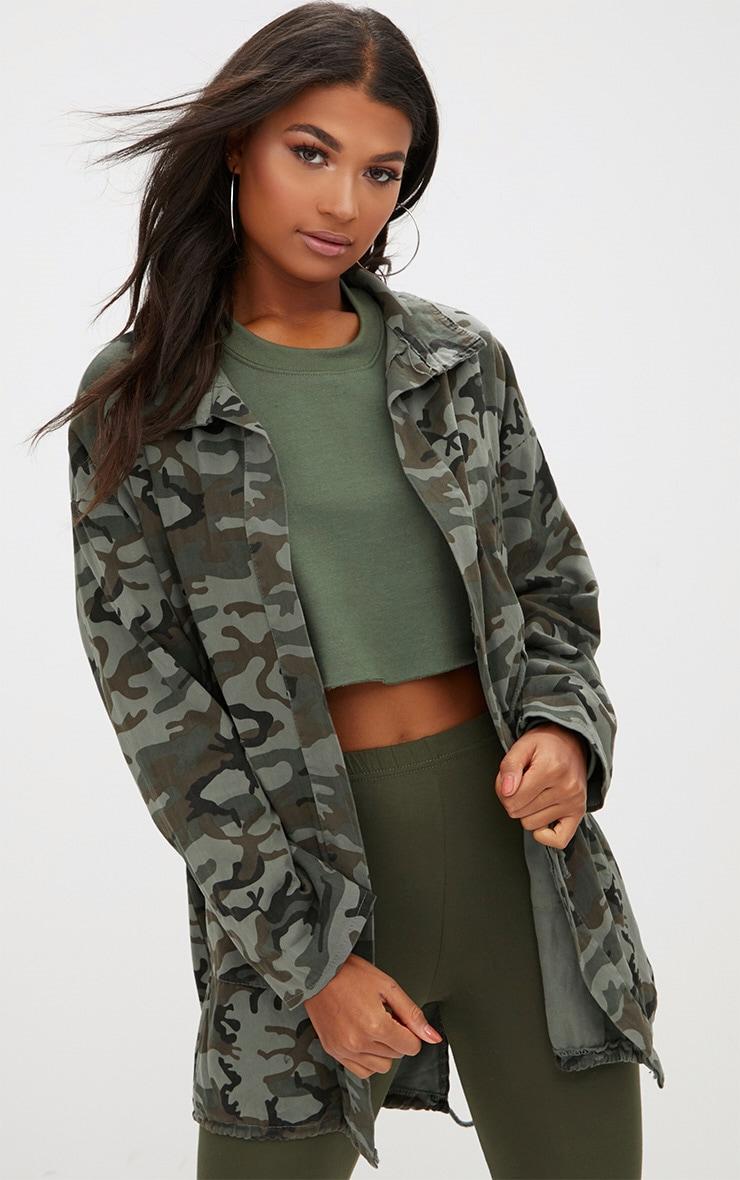 Khaki Camouflage Tie Waist Jacket 1