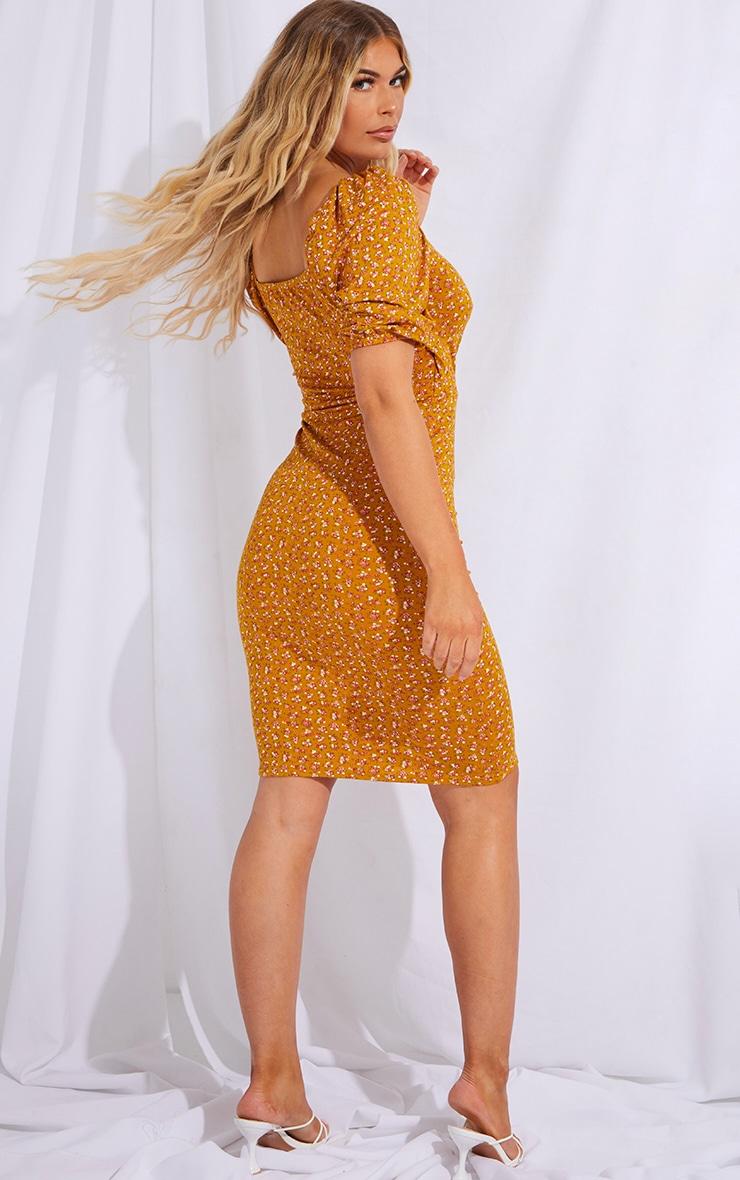 Mustard Ditsy Floral Print Wrap Puff Sleeve Midi Dress 2