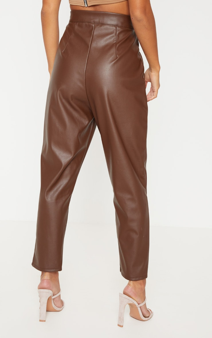 Petite Chocolate Faux Leather Slim Leg Pants 4