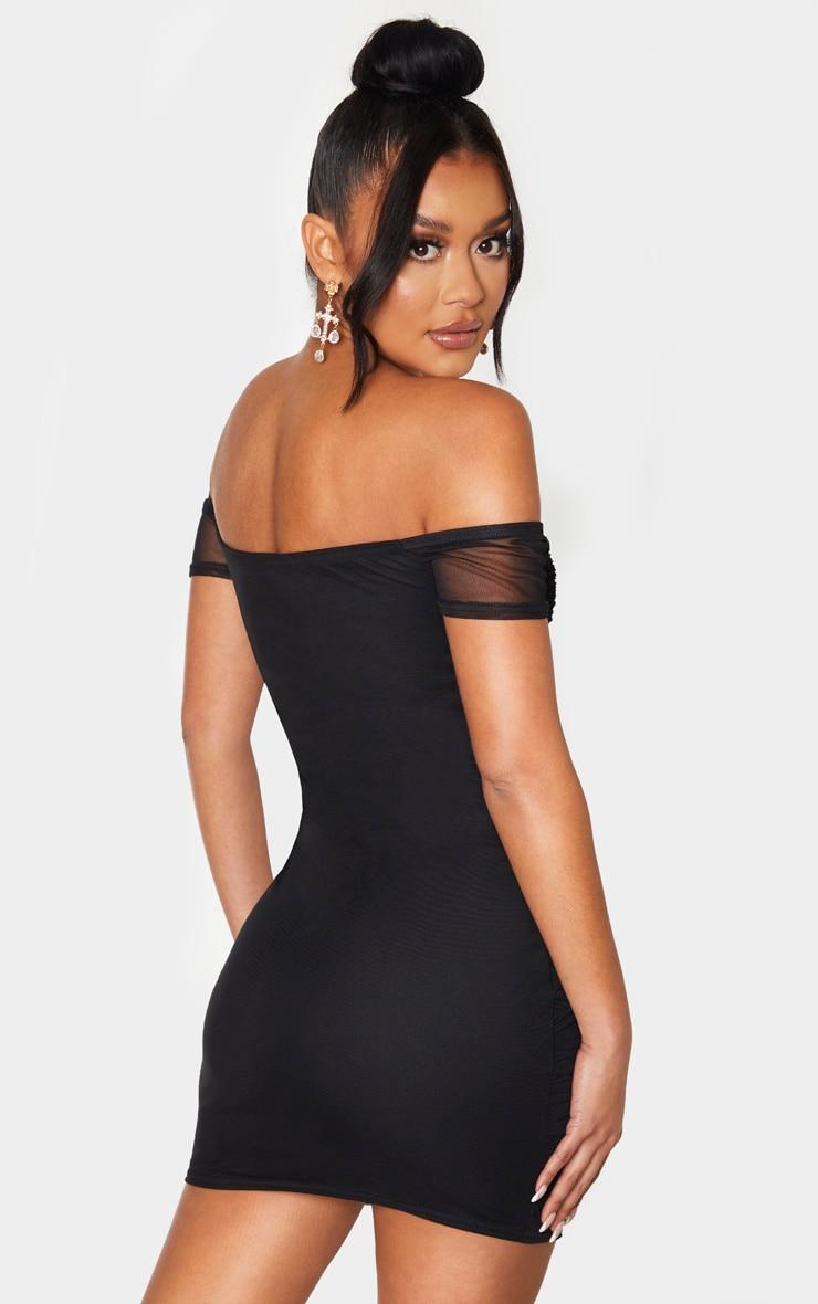 Black Mesh Ruched Bardot V Bar Detail Bodycon Dress 2