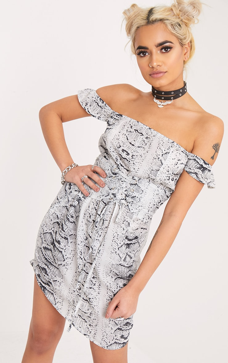 Tabitha Grey Snake Print Corset Detail Bardot Bodycon Dress 1