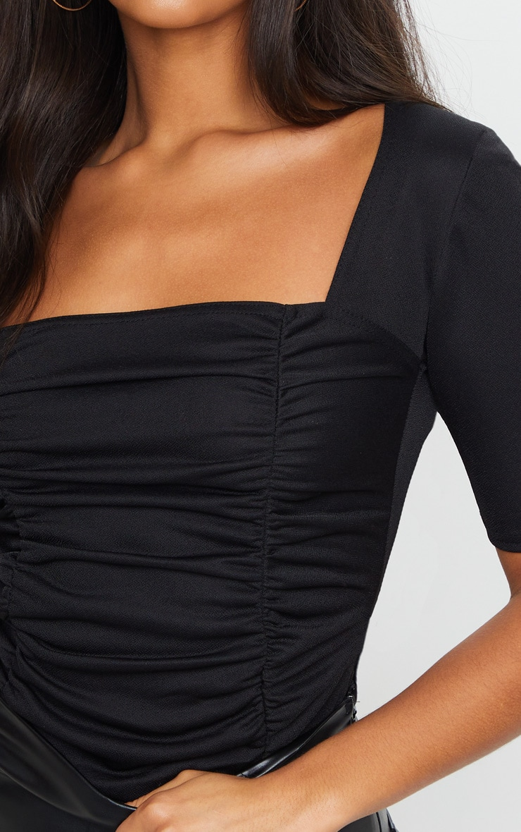 Black Ruched Short Sleeve Bodysuit 4