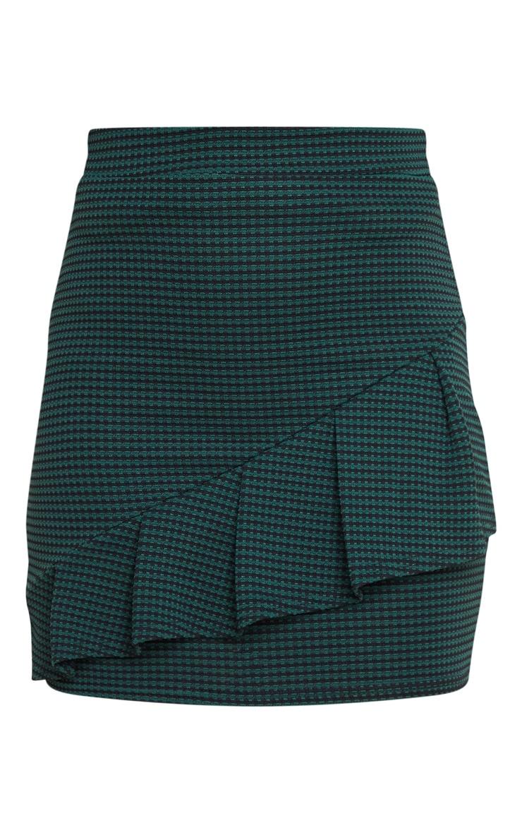 Emerald Green Jacquard Ruffle Mini Skirt 3