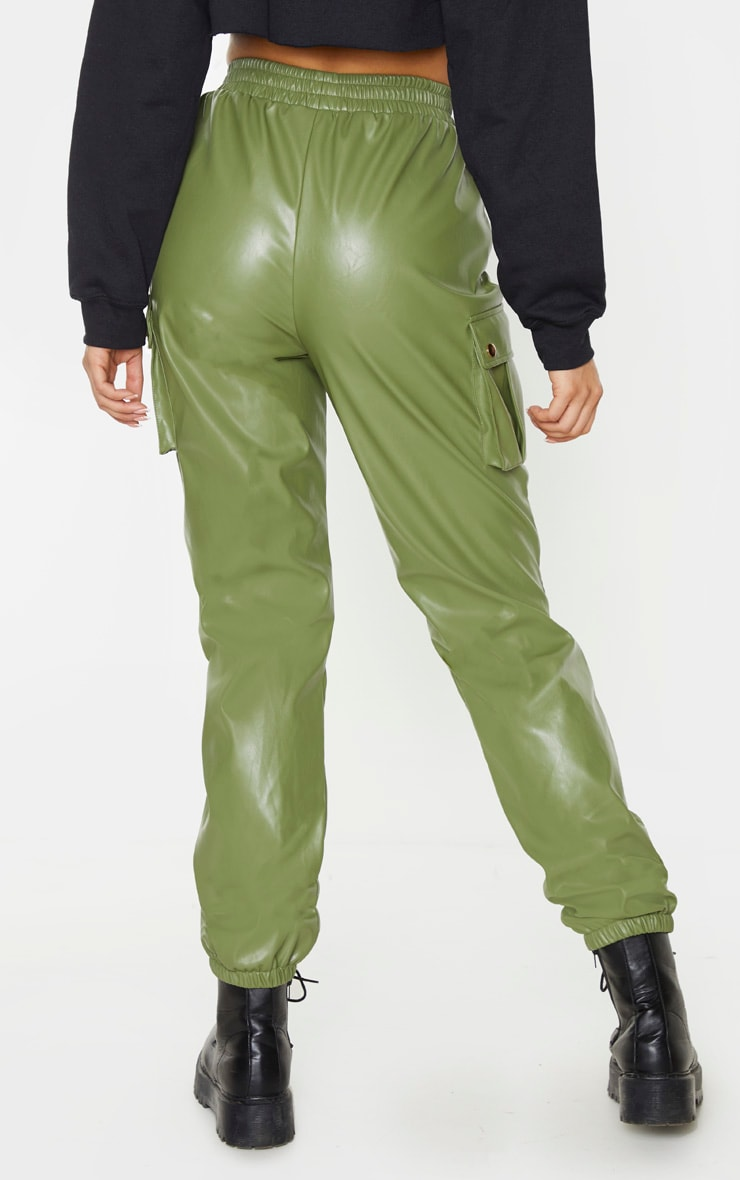 Tall Khaki Faux Leather Pocket Detail Jogger 4