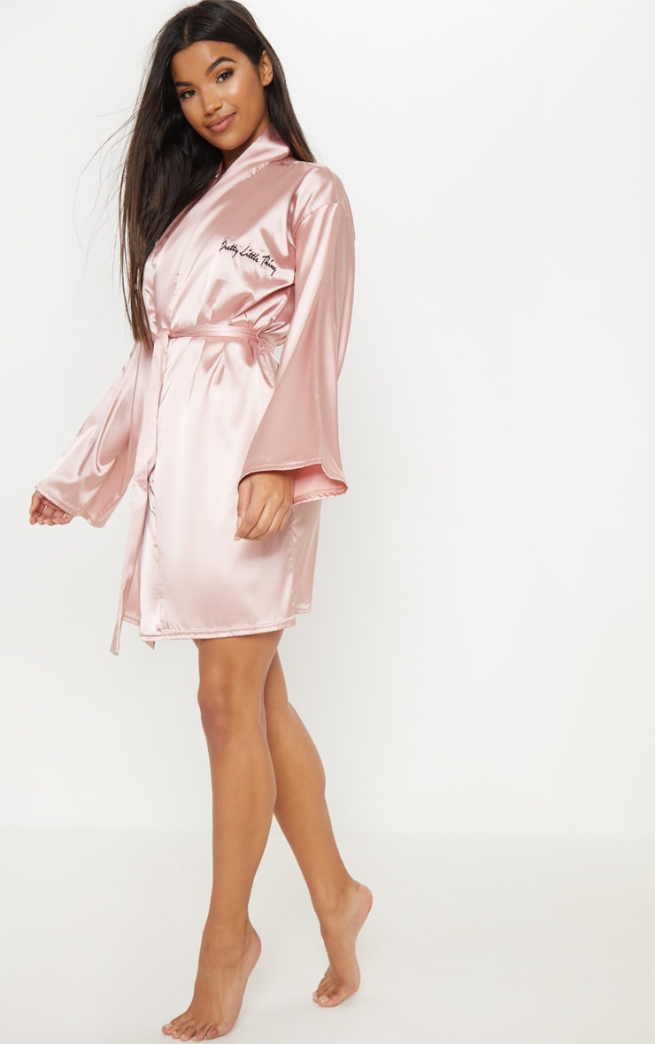 PRETTYLITTLETHING Rose Gold Satin Robe 5