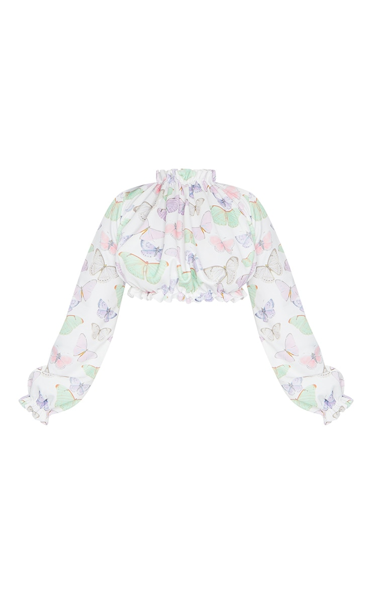 Petite White Butterfly Print Long Sleeve Ruffle Crepe Blouse 5