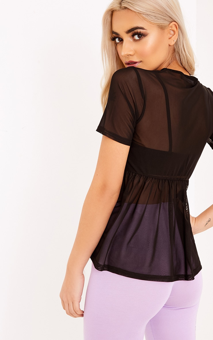 Kaylee Black Sheer Mesh Ruched T Shirt 2