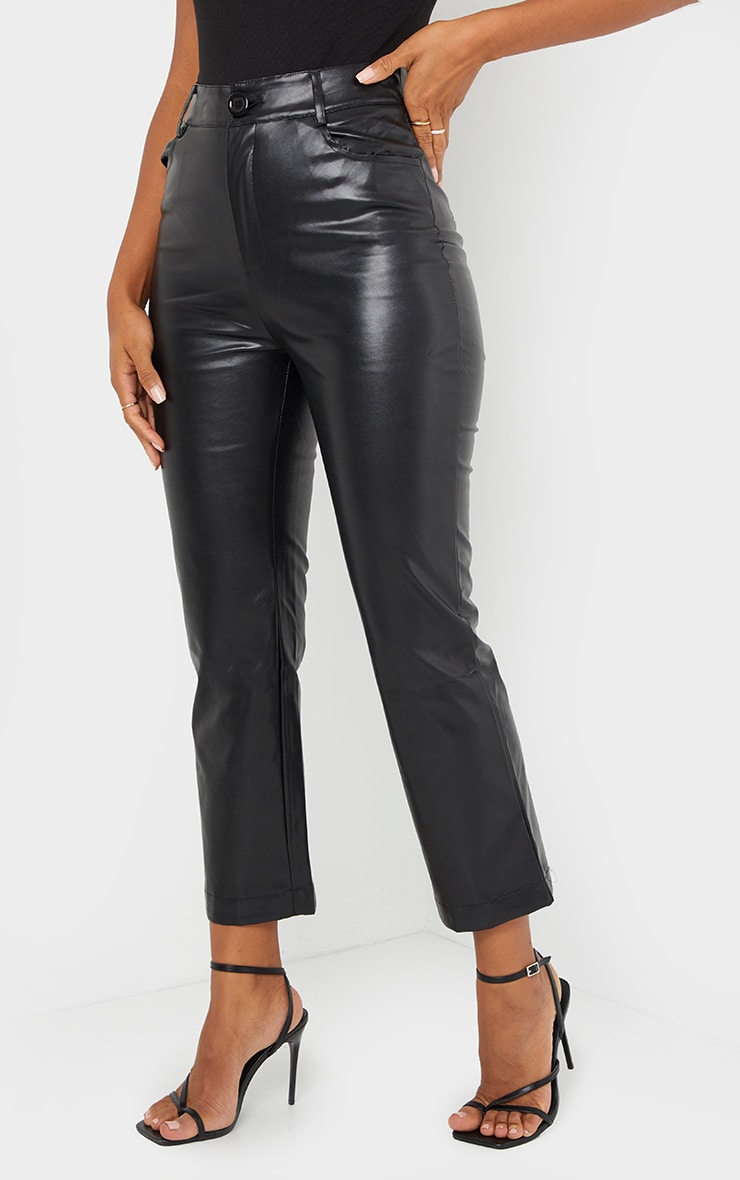 Black Faux Leather Cropped Trouser 2