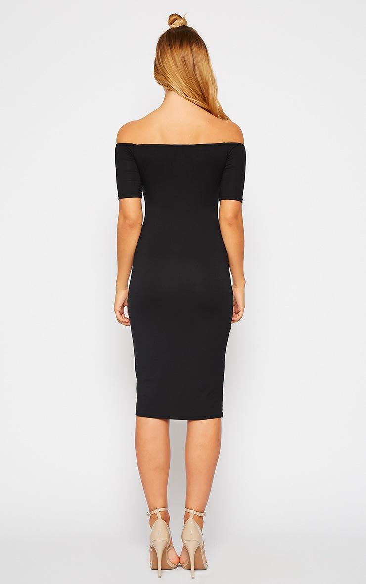 Caty Black Jersey Bardot Midi Dress 2