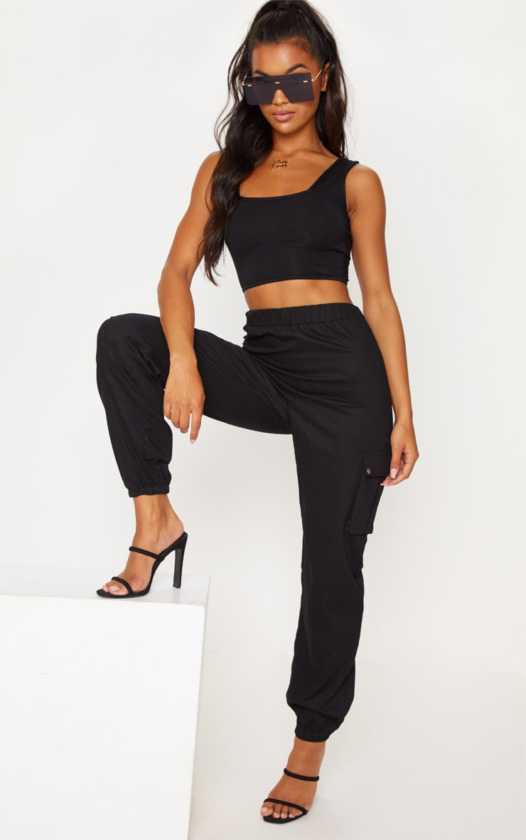 Black Square Neck Crop Top 4