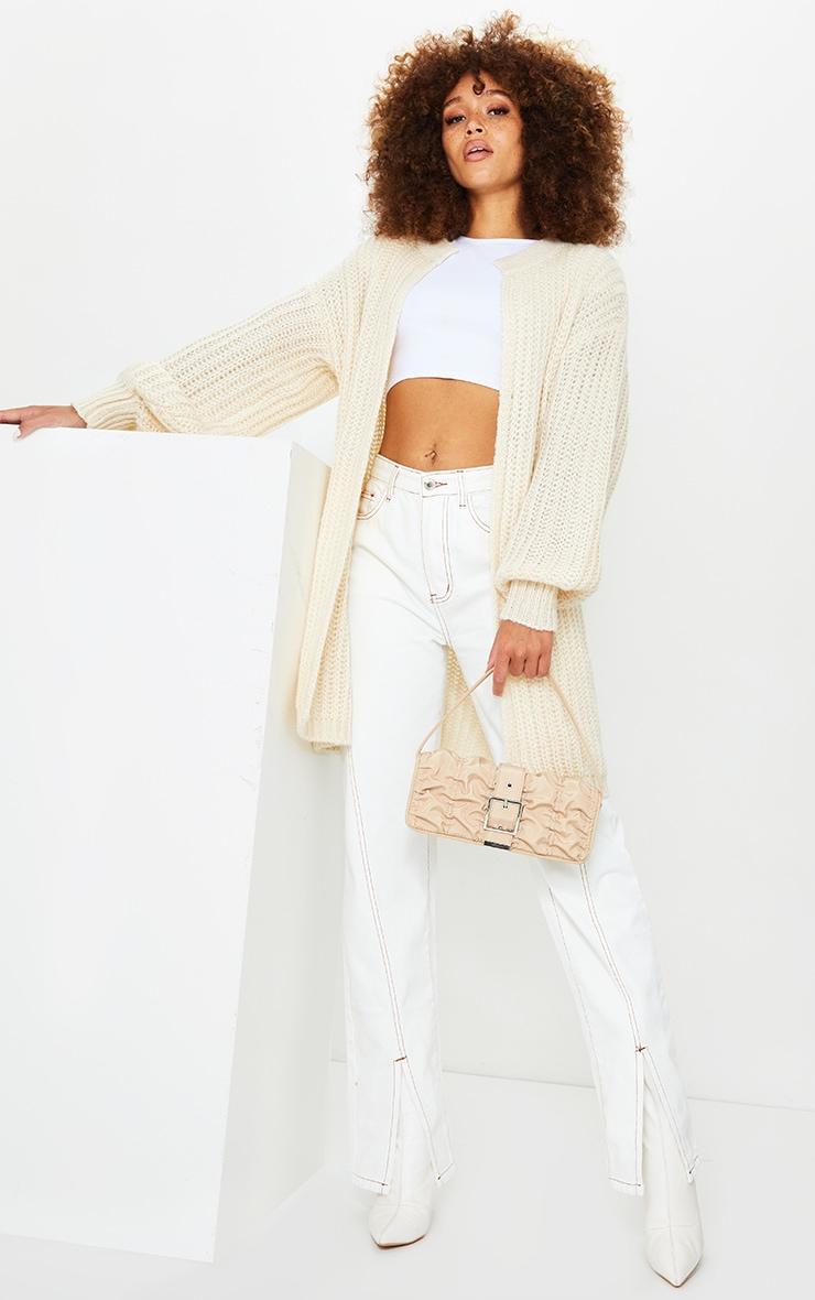 Cream Premium Fluffy Chunky Knit Balloon Sleeve Midi Cardigan 3