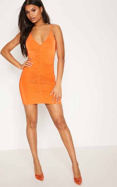 Usa short orange scoop neck bodycon bright dress ribbed nairobi manufacturers
