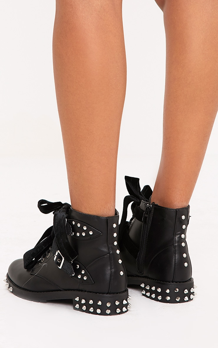 Black Studded Lace Up Ankle Boots  4