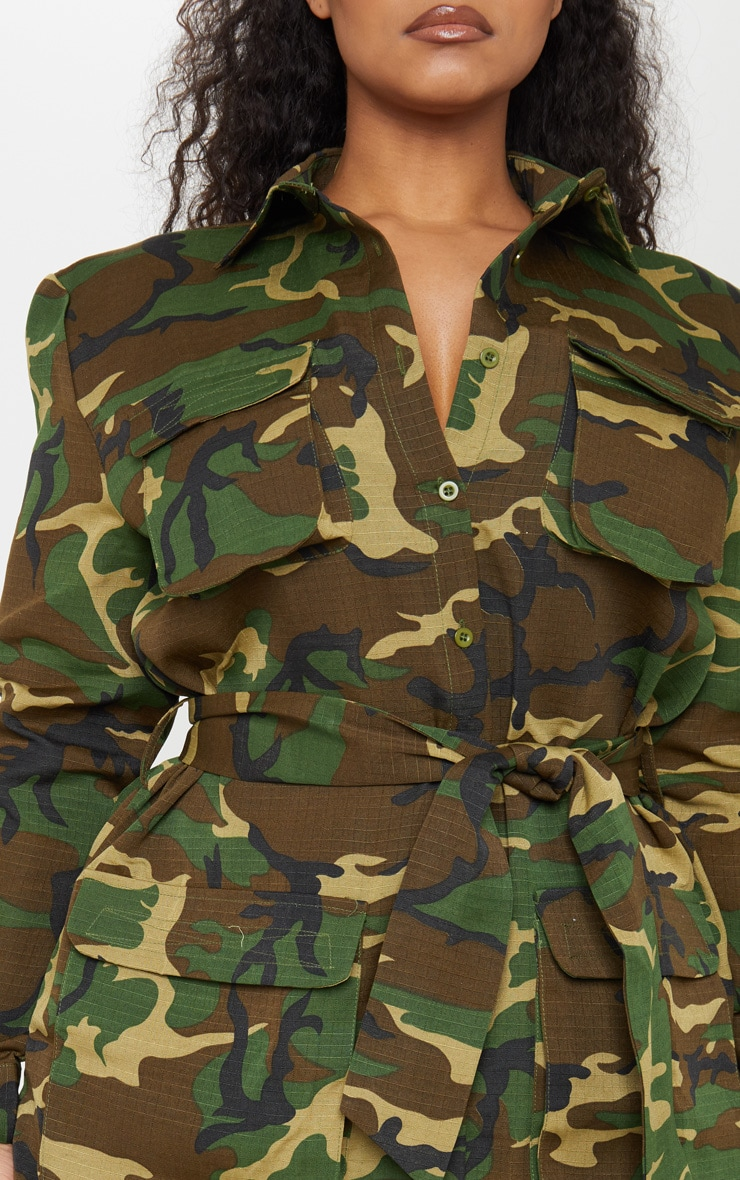 Plus Camo Utility Tie Waist Shirt Dress