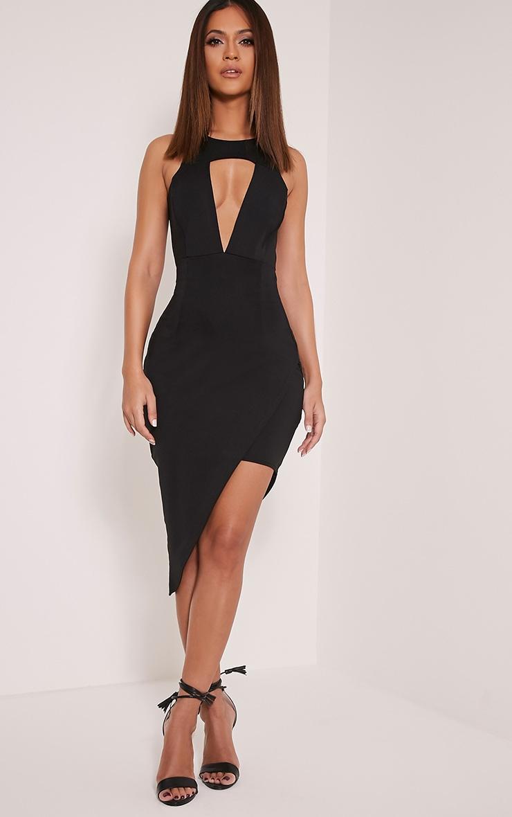 Eron Black Cut Out Plunge Asymmetric Mini Dress 1
