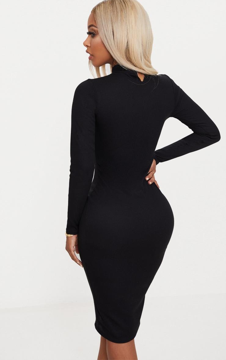 Shape Black Ribbed High Neck Midi Dress 2