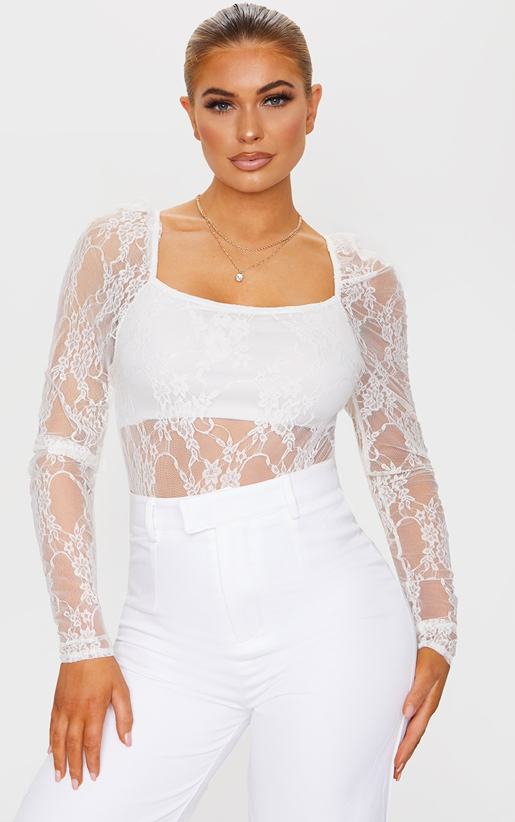 Cream Lace Puff Sleeve Square Neck Bodysuit 1