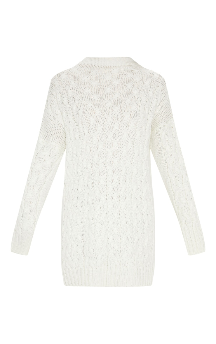 Cream Cable Detail Knitted Jumper Dress  3
