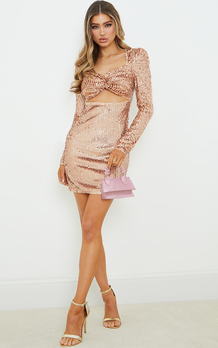 Rose Gold Sequin Twist Front Long Sleeve Bodycon Dress 3
