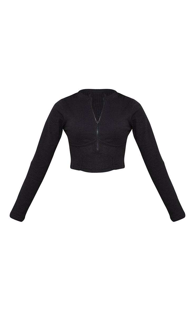Petite Black Under Bust Ribbed Long Sleeve Crop Top 5