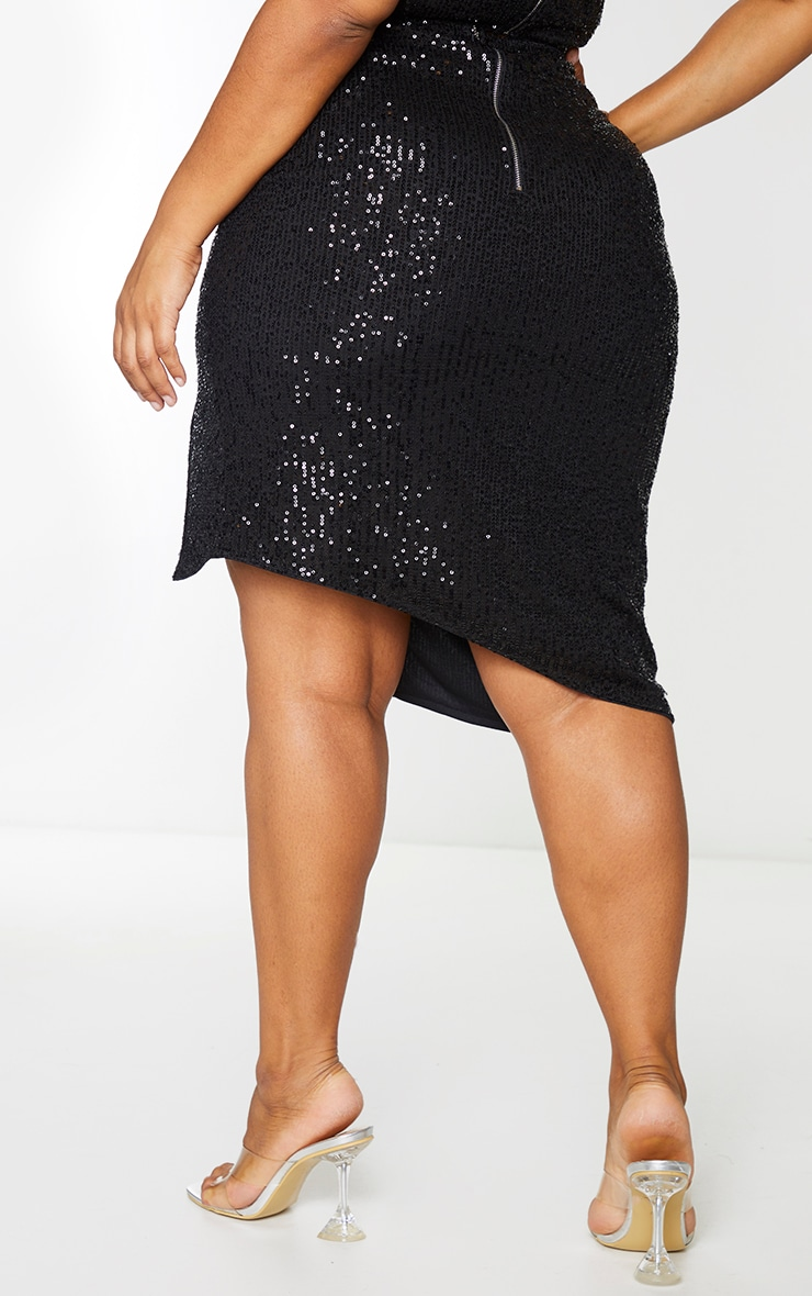 Plus Black Sequin Wrap Midi Skirt 3