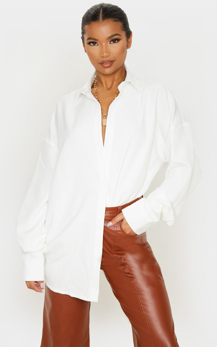 White Oversized Long Line Shirt 1