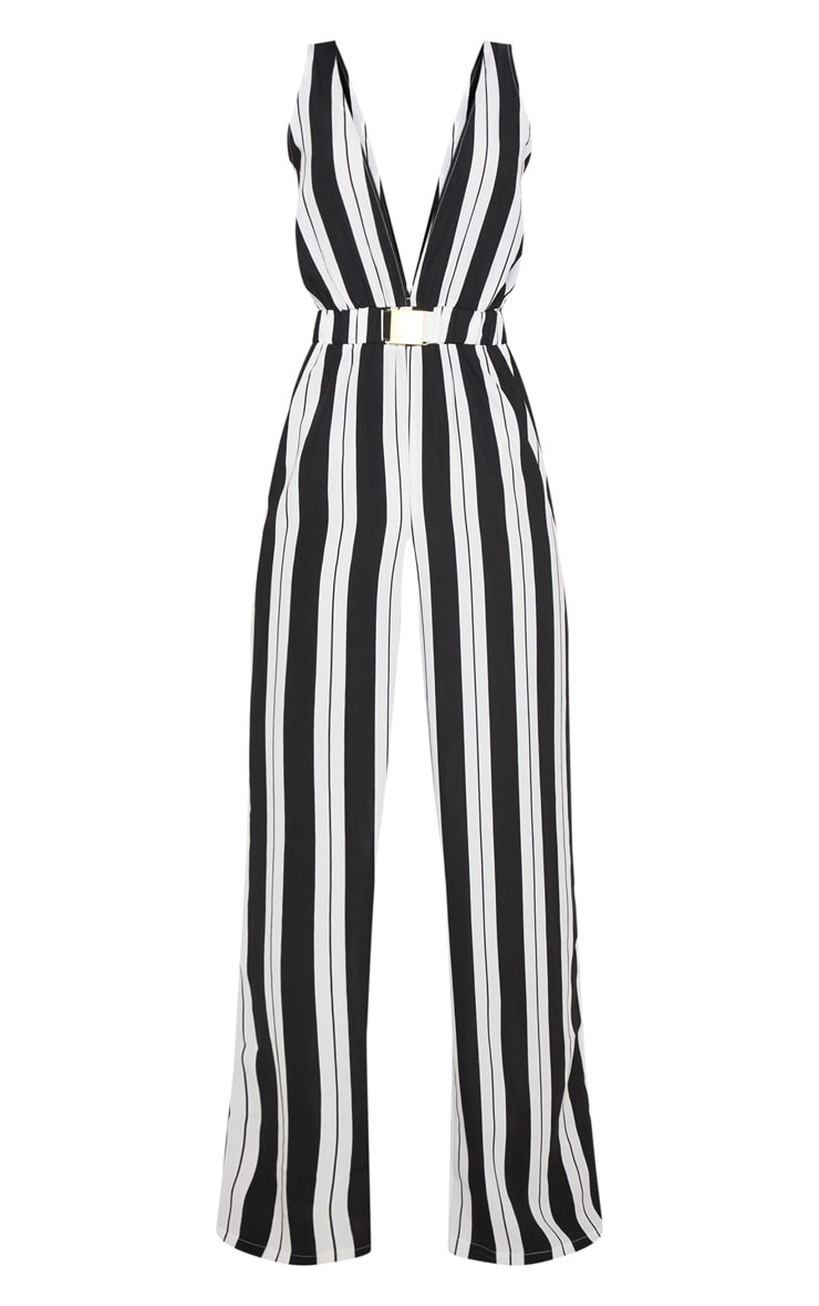 Monochrome Stripe Buckle Belt Detail Jumpsuit 3