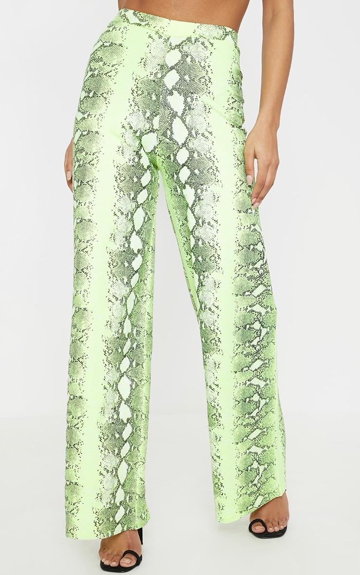 Neon Lime Snake Print Wide Leg Trouser 2