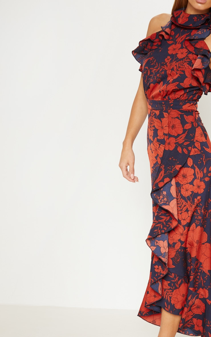 Navy Floral Print Frill Detail Wrap Maxi Dress 5