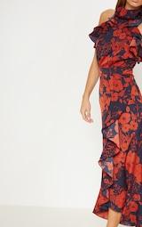 Navy Floral Print Frill Detail Wrap Maxi Dress 5