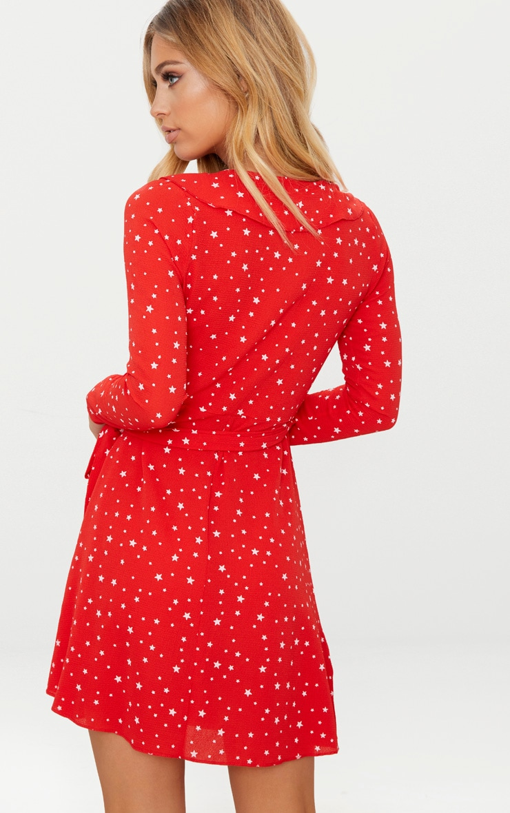 Red Star Print Frill Wrap Tea Dress  2