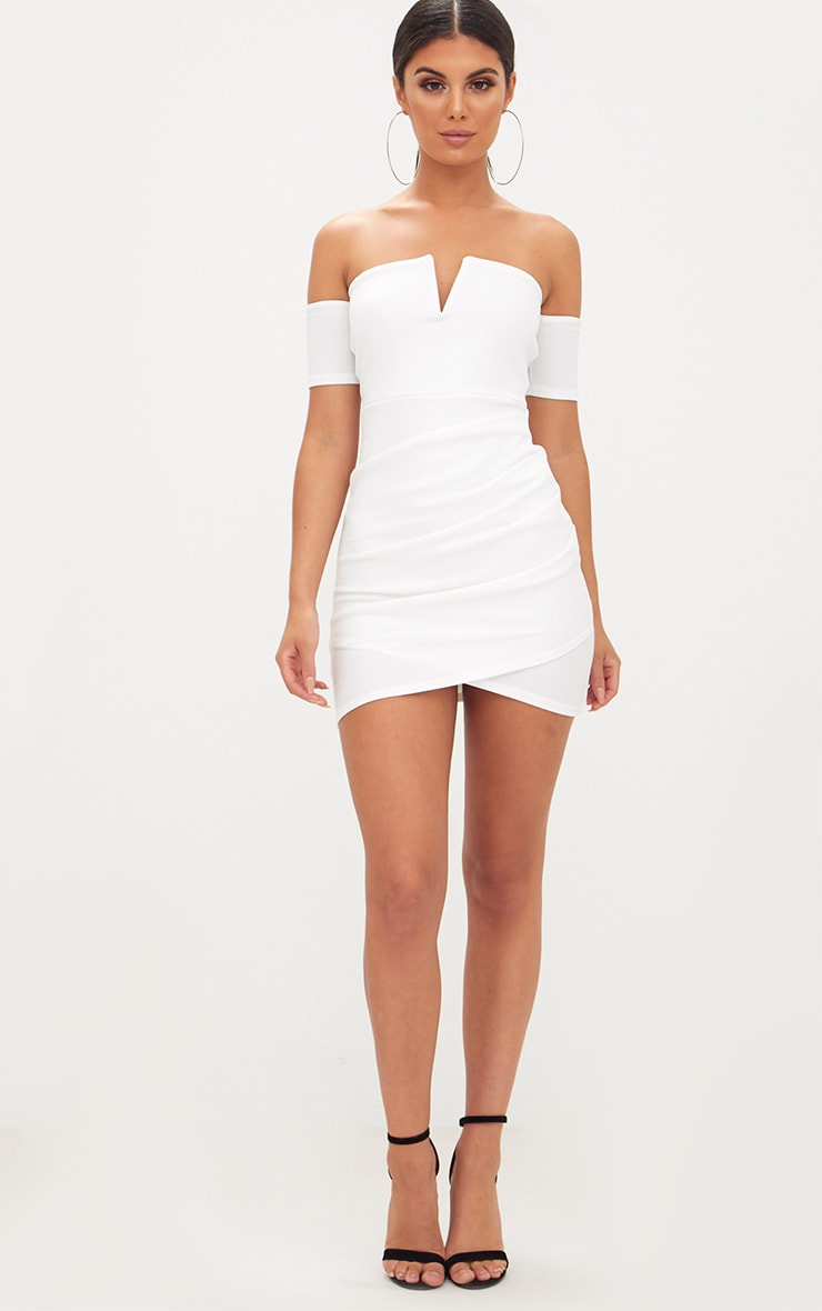 White Bardot Wrap Front Bodycon Dress 4