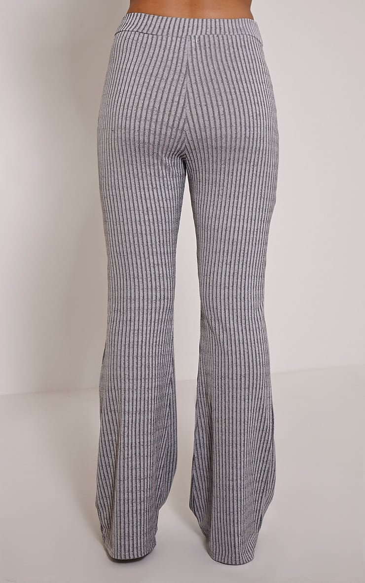 Anna Grey Ribbed Flared Trousers 4