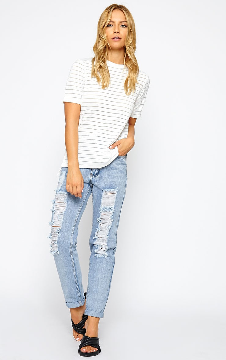 Elodie Cream Burnout Stripe T-Shirt 3