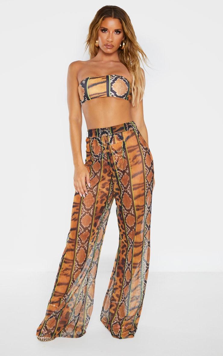 Orange Stripe Tiger Print Mesh Trouser 2