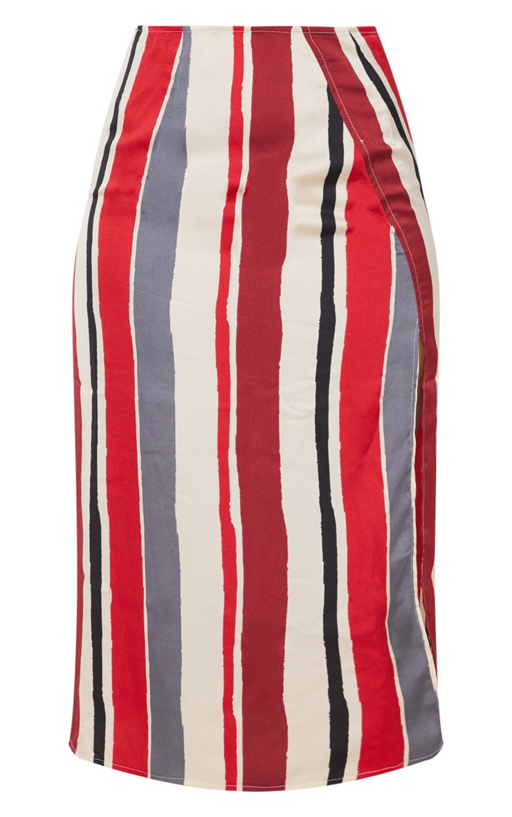 Red Satin Stripe Midi Skirt 3
