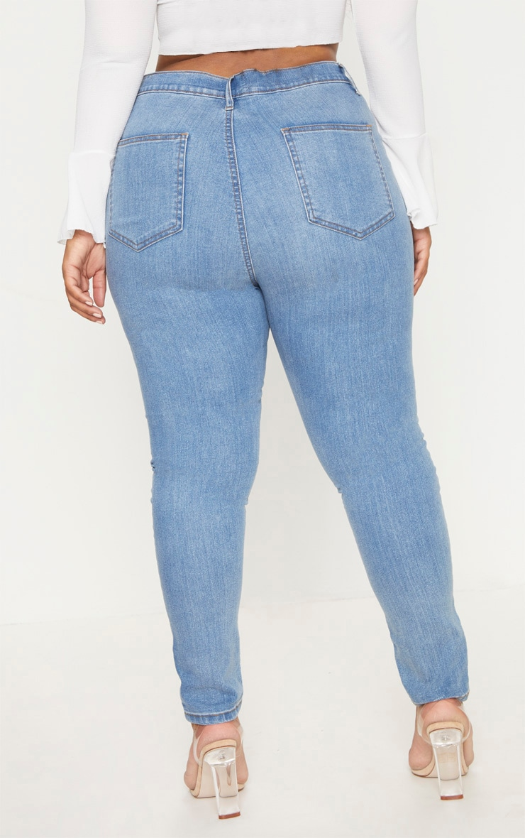 Plus Light Wash High Waisted Skinny Jeans 4