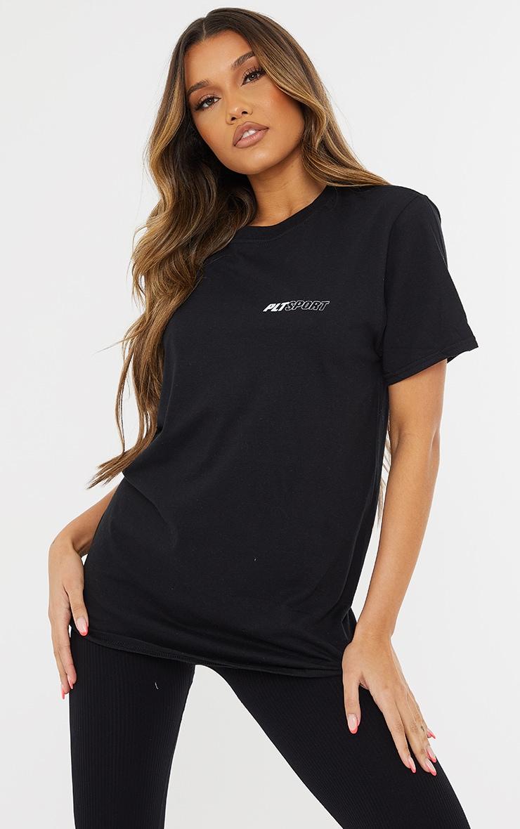 PRETTYLITTLETHING Black Sport Oversized T Shirt 1