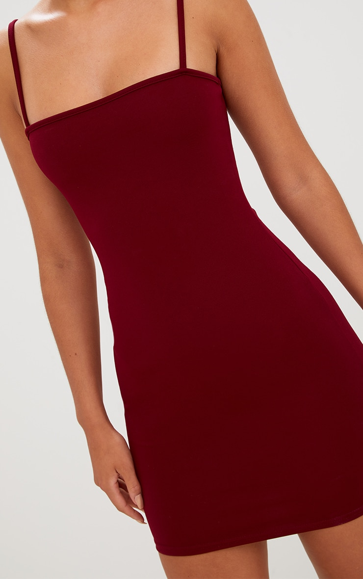 Burgundy Straight Neck Bodycon Dress 5