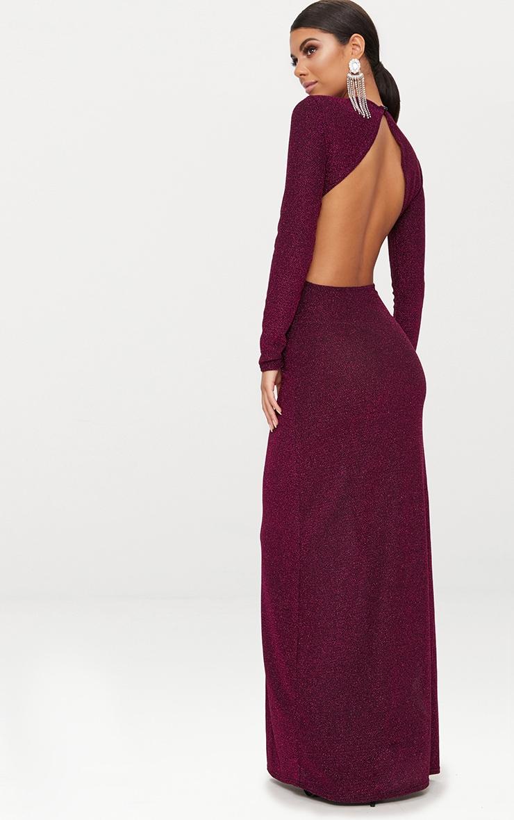 b2d02cdf64 Fuchsia Glitter Long Sleeve High Neck Backless Maxi Dress image 1