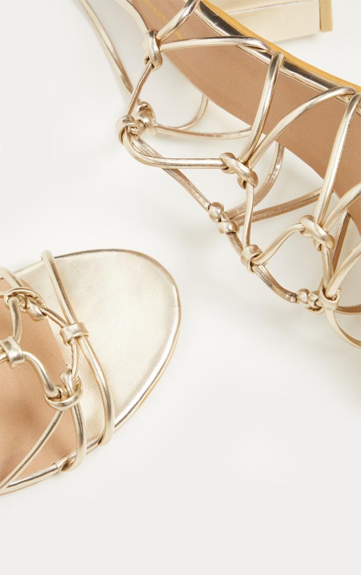 Gold Block Heel Leg Tie Sandal 3