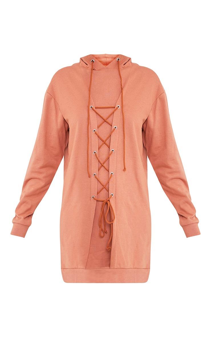 Bexie robe sweat pêche à lacets et à capuche 3