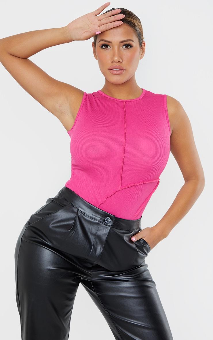 Shape Pink Rib Seam Panel Detail Bodysuit 1