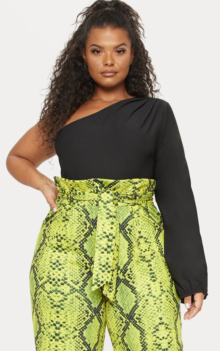 Plus Black Print One Shoulder Printed Bodysuit 1