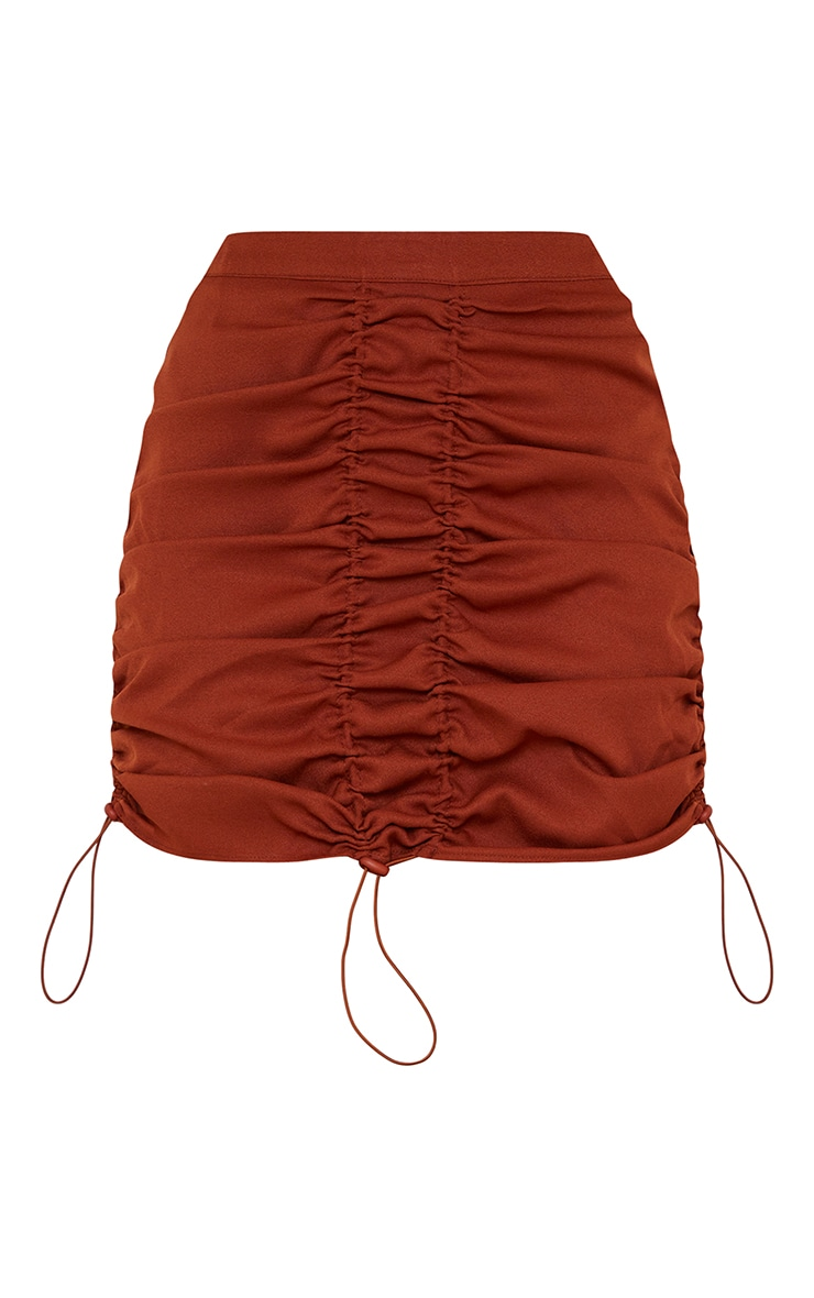 Rust Woven Ruched Detail Toggle Mini Skirt 5