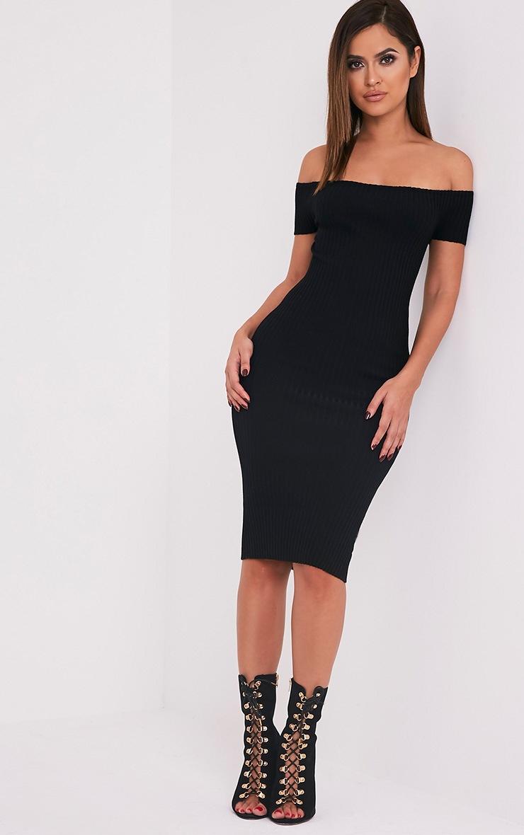 Erin robe midi bardot noire tricotée et côtelée 4