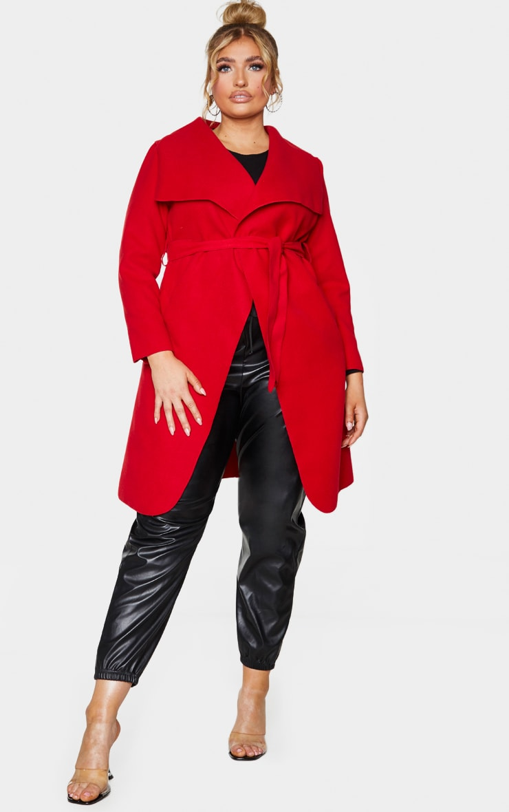 Plus Veronica Red Oversized Waterfall Belted Coat 1