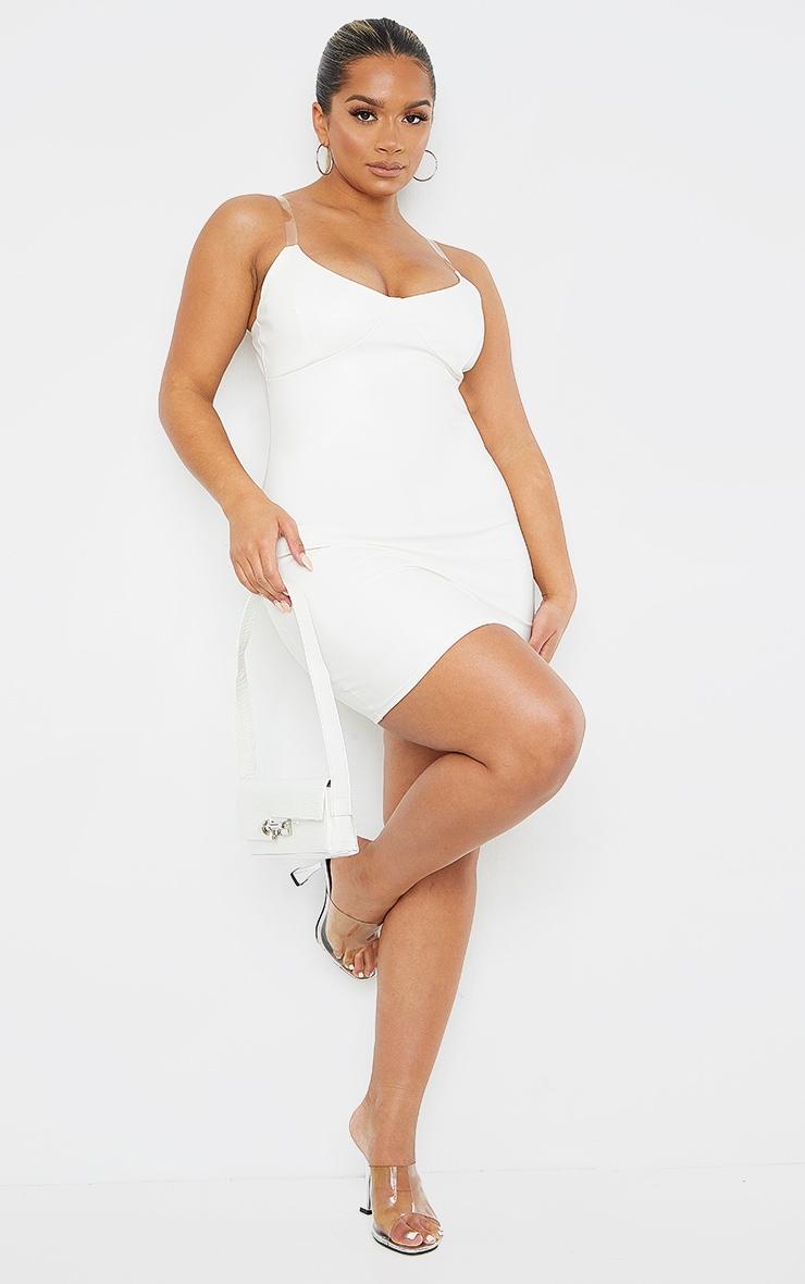 Shape White PU Clear Strap Cup Detail Bodycon Dress 3